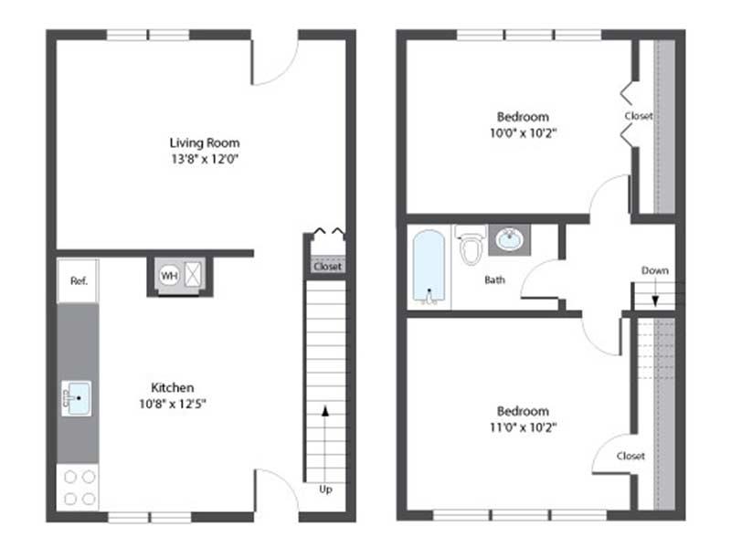 Hopkins Point 2 Bedroom 1 Bath 760 sq ft