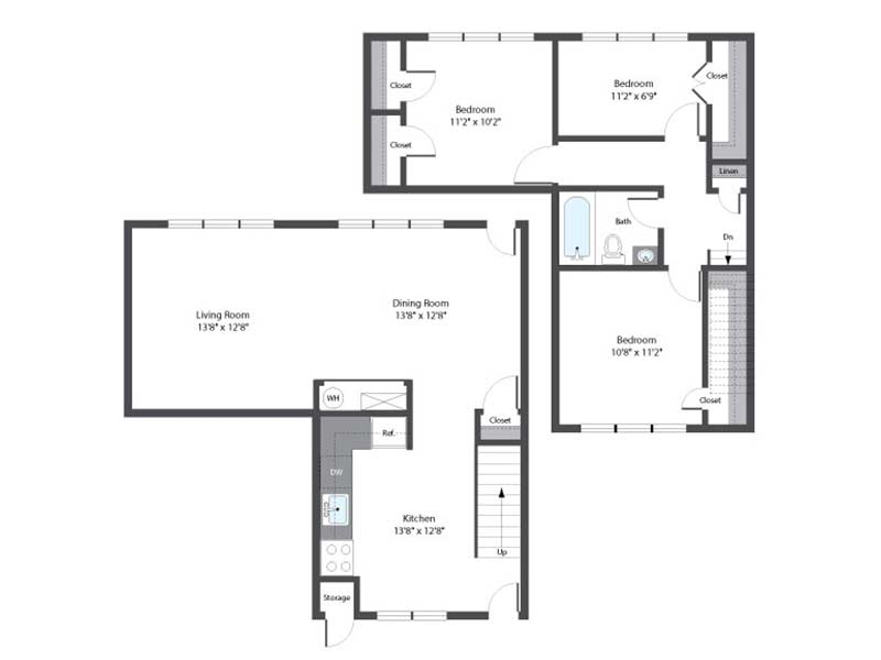 Hopkins Point 3 Bedroom 1 Bath 985 sq ft