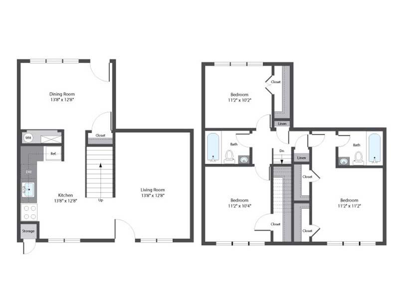 Hopkins Point 3 Bedroom 2 Bath 1097 sq ft