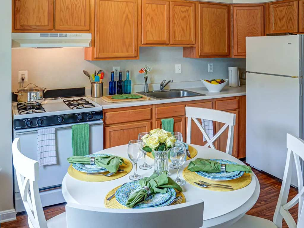Interior apartment kitchen at Hopkins Point by OneWall