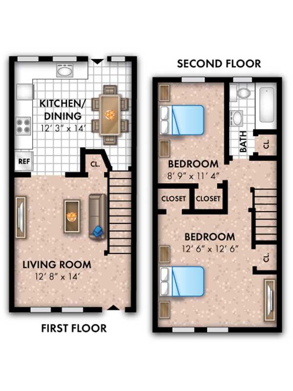 Oak Grove 2 Bedroom 1 Bath The Kenwood Townhome 848 sq ft