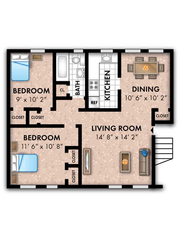 Oak Grove 2 Bedroom 1 Bath The Overlea 704 sq ft