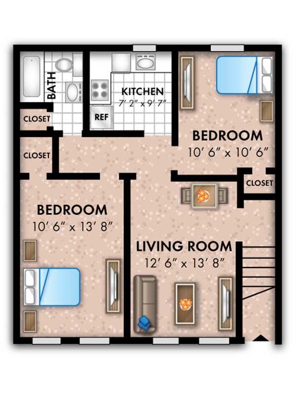 Oak Grove 2 Bedroom 1 Bath The Rosedale 625 sq ft