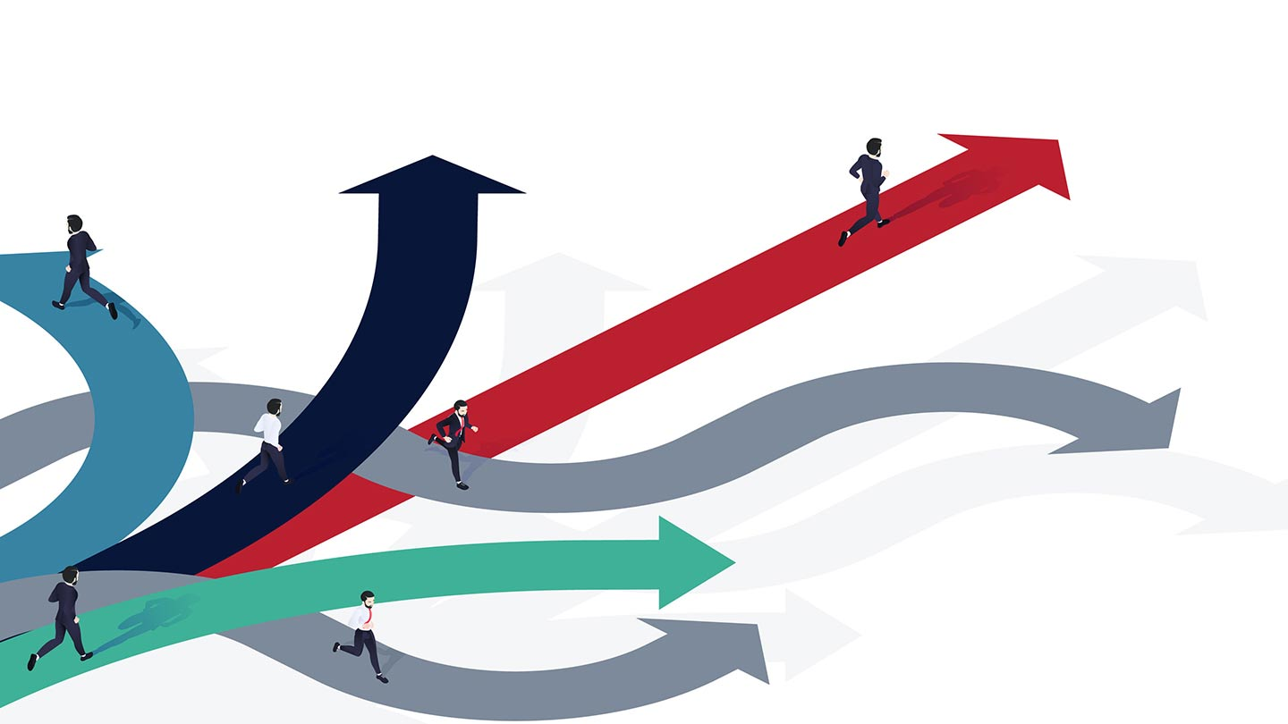 Infographic showing businessmen running on arrows pointing in different directions