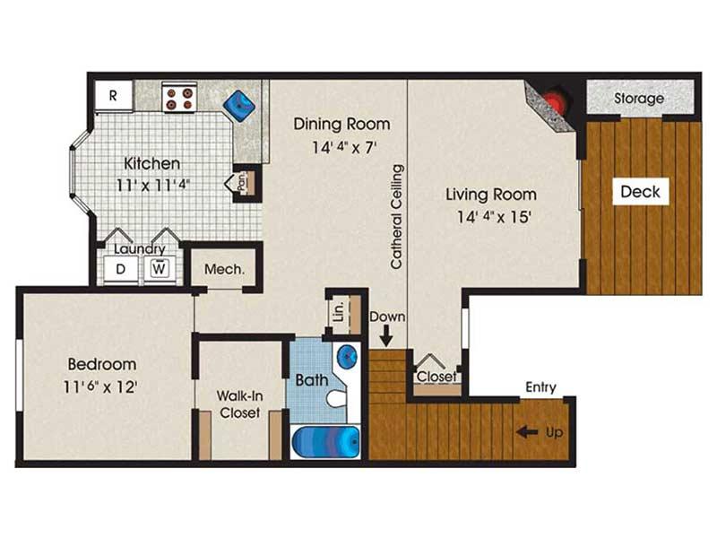 The Brooke 1 Bedroom 1 Bath 990 sq ft