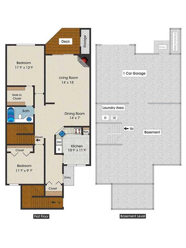The Brooke 2 Bedroom 2 Bath 1130 sq ft
