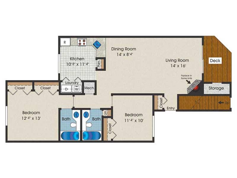 The Brooke 2 Bedroom 2 Bath 1115 sq ft