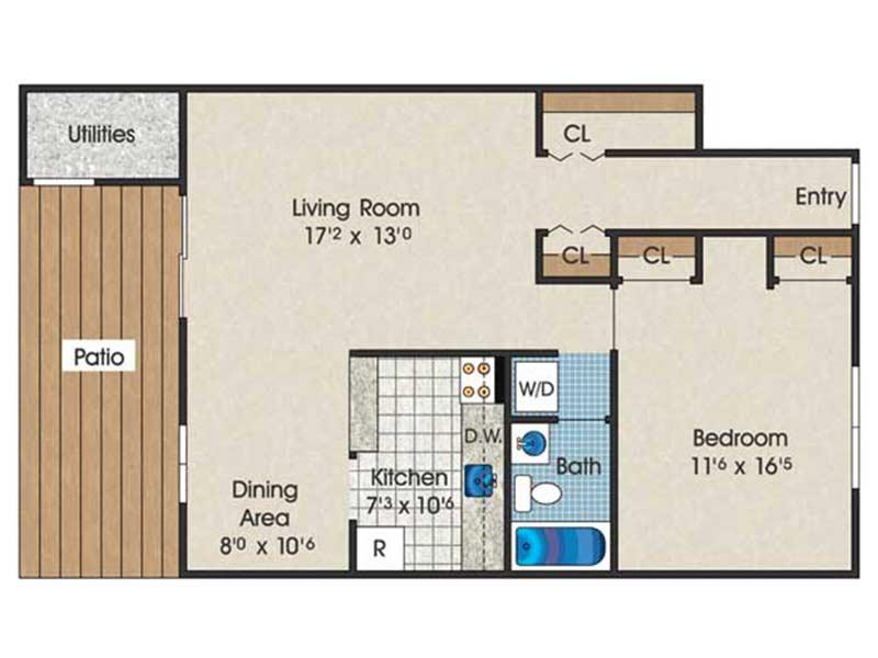 The Landings 1 Bedroom 1 Bath 760 sq ft
