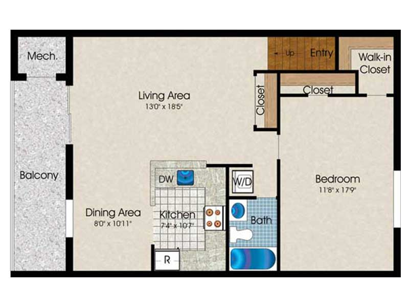 The Landings 1 Bedroom 1 Bath 785 sq ft
