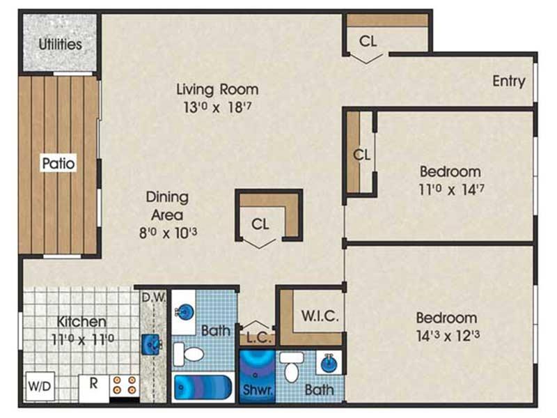 The Landings 2 Bedroom 2 Bath 1052 sq ft