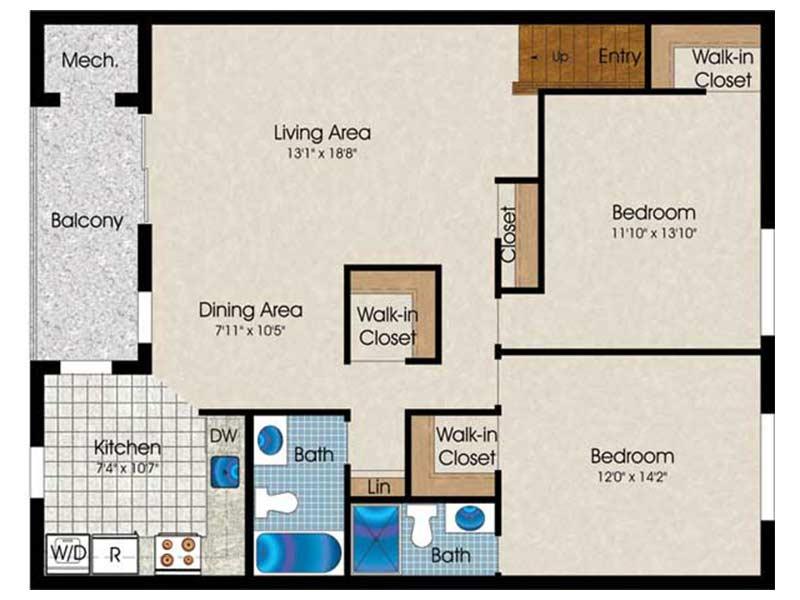 The Landings 2 Bedroom 2 Bath 1060 sq ft
