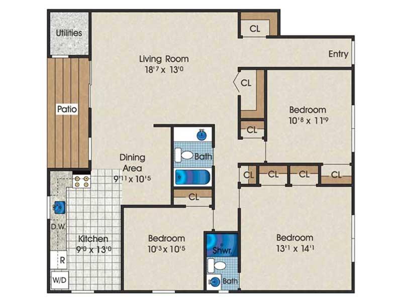 The Landings 3 Bedroom 2 Bath 1150 sq ft