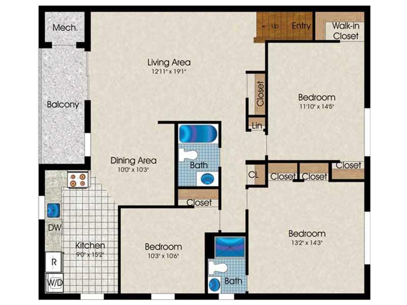 The Landings 3 Bedroom 2 Bath 1255 sq ft