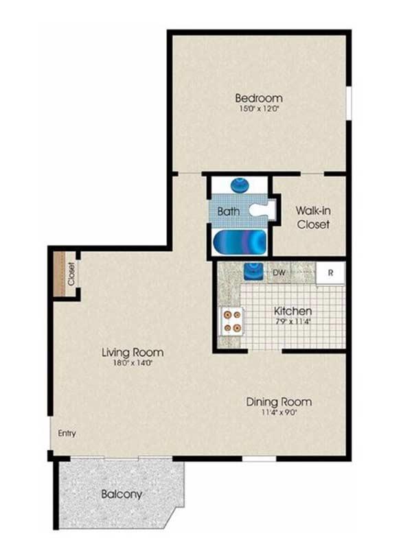 Trexler Park 1 Bedroom 1 Bath 738 sq ft