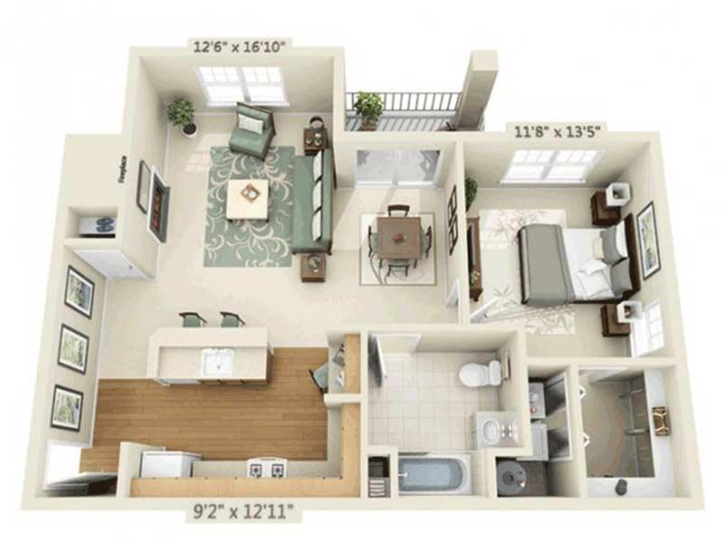 Trexler Park 1 Bedroom 1 Bath Model