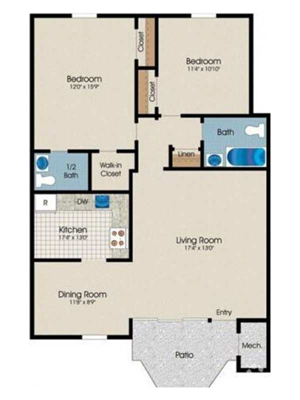 Trexler Park 2 Bedroom 1.5 Bath 875 sq ft
