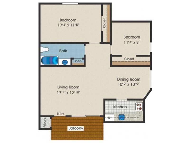 Trexler Park 2 Bedroom 1 Bath 820 sq ft