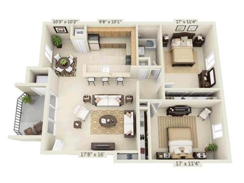 Trexler Park 2 Bedroom 1 Bath 980 sq ft