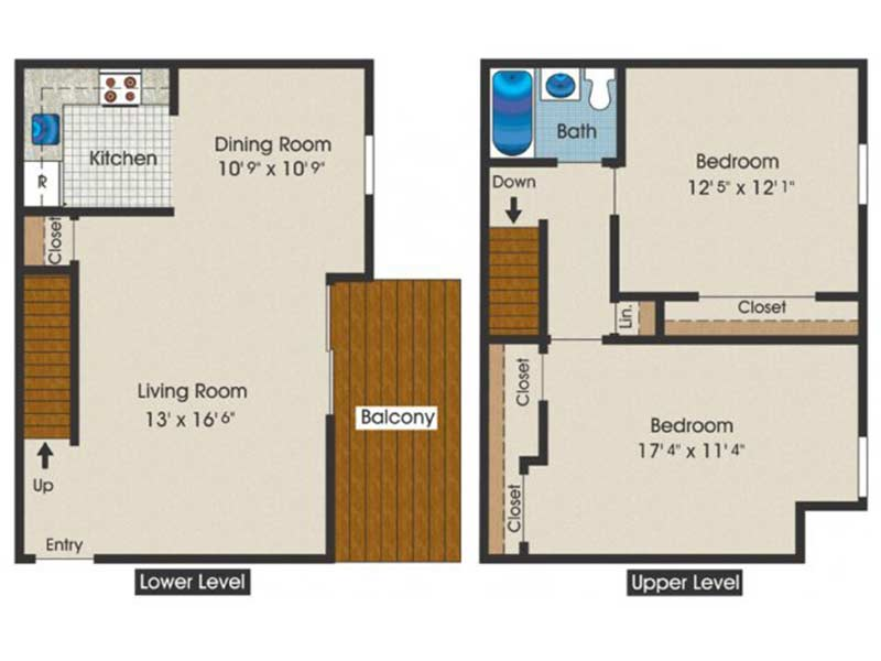 Trexler Park 2 Bedroom 1 Bath Townhome 1017 sq ft
