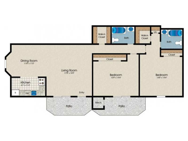 Trexler Park 2 Bedroom 2 Bath 1140 sq ft