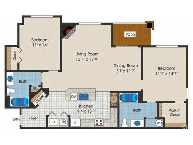 Trexler Park 2 Bedroom 2 Bath 1157 sq ft