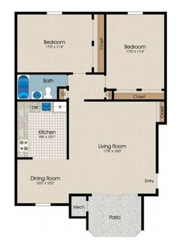 Trexler Park 2 Bedroom 2 Bath 988 sq ft