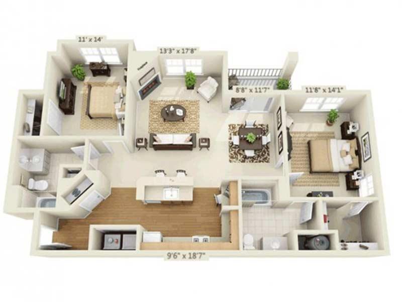 Trexler Park 2 Bedroom 2 Bath Model