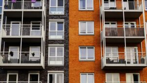 Exterior of two-toned apartment building