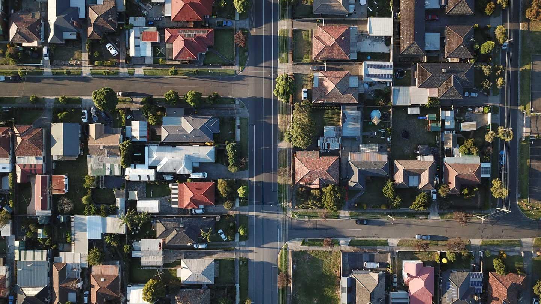 Aerial view of a residential neigbhorhood