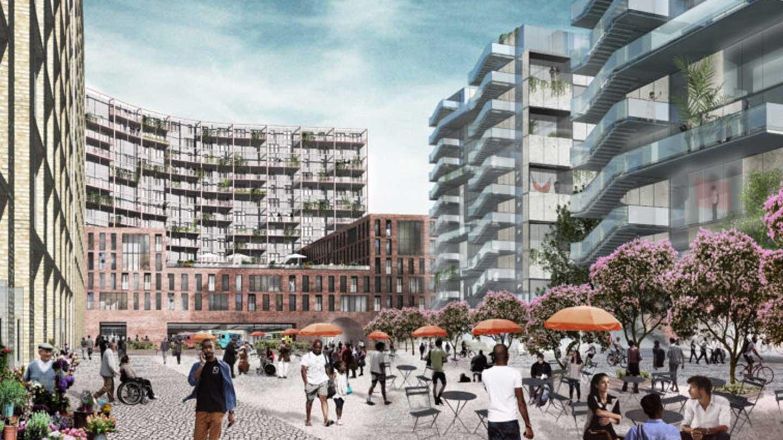Rendering of a neighborhood redevelopment