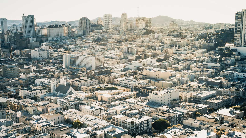 Aerial view of a city neighborhood
