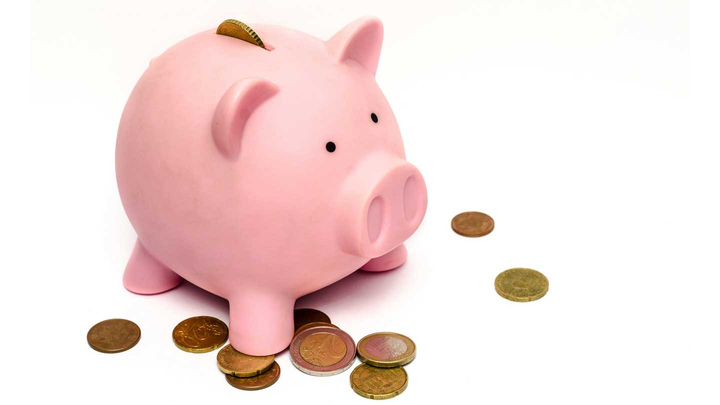 Piggy bank on white background with coins around it
