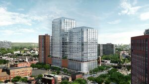 Rendering of a proposed building in downtown Newark