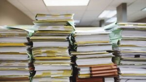 Stack of papers in an office